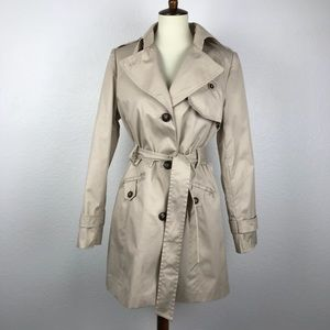 H&M Beige Belted Pleated Trench Coat
